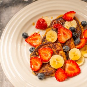 One of Eddie's creations from VegOut week - Sweet Potato Pancakes with Fresh Fruit, Coconut Nectar and Coconut Yoghurt.